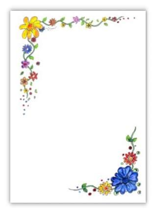 Briefpapier blumenranke kreativzauber - Briefpapier vorlagen kostenlos ...