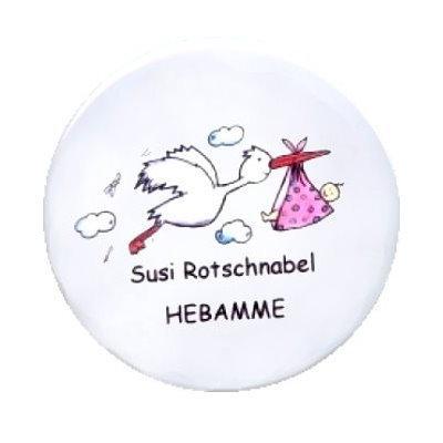 Ansteckbutton Hebamme Storch