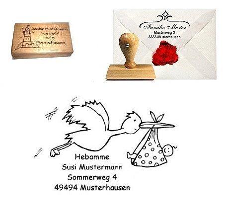 Adress Stempel Holz Storch Hebammenstempel Kreativzauber