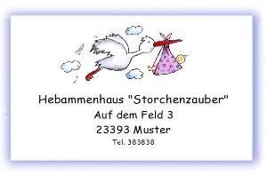 Visitenkarte Hebamme Storch