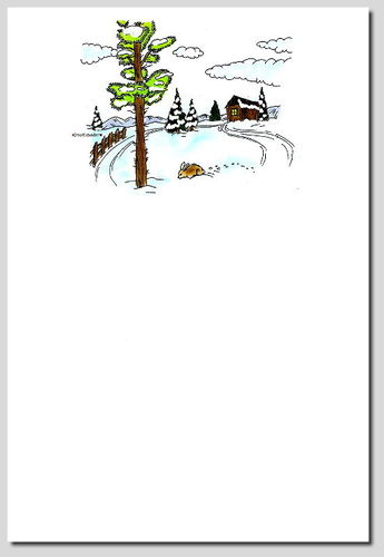 digitales Briefpapier Winterlandschaft