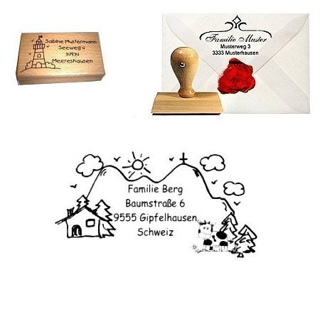 Adress-Stempel Holz Bergpanorama