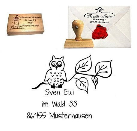 Adress-Stempel Holz Eule